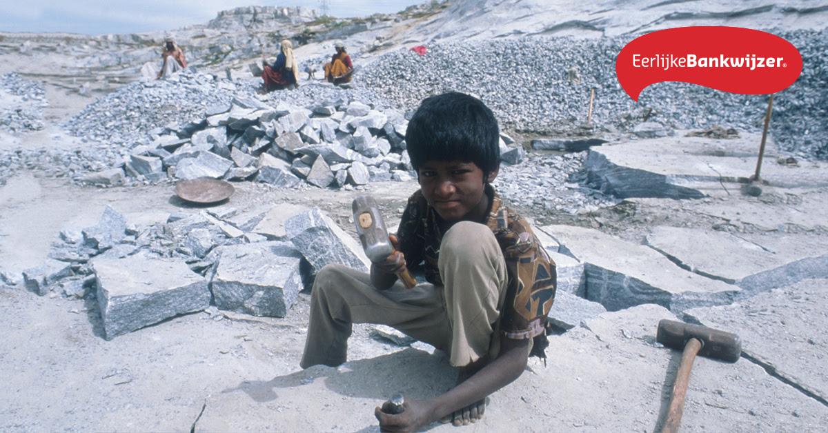 Eerlijke Bankwijzer: ING en Rabobank financieren granietbedrijven die betrokken zijn bij kinderarbeid