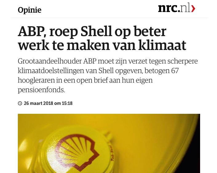 67 hoogleraren roepen ABP op om voor Follow This resolutie bij Shell te stemmen