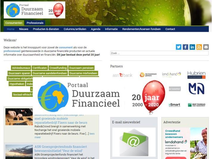 Portaal Duurzaam Financieel viert 20 jarig bestaan!