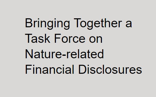 Announcement on Co-chairs Informal Working Group bringing together Task Force for Nature-related Financial Disclosures