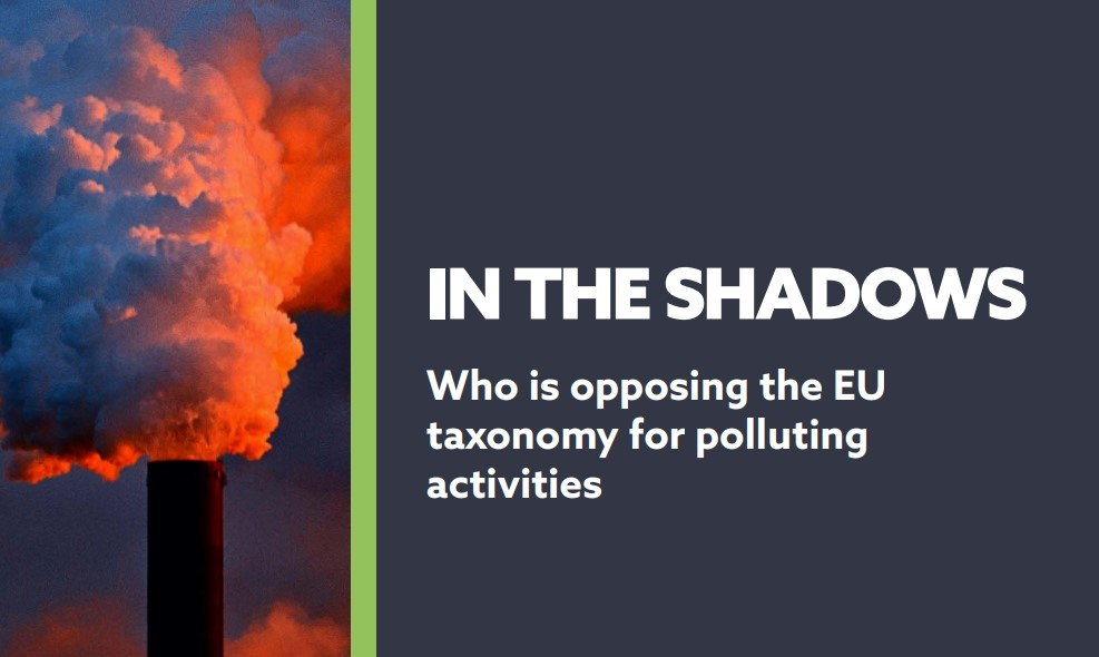 In the Shadow: Who is opposing the taxonomy for polluting activities?